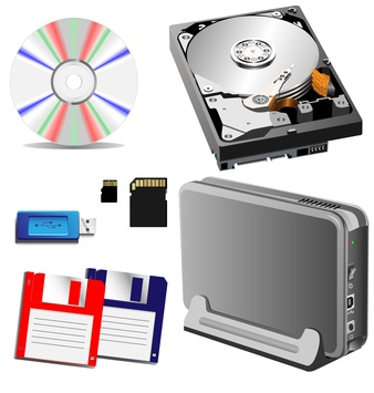 different types of storage devices, external and internal.
